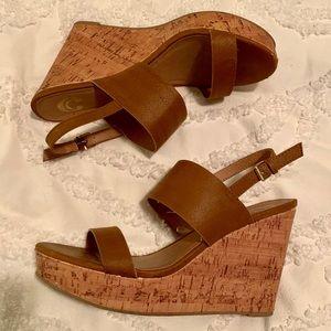 Brown Cork Wedge Sandals - 9